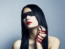 Fashion portrait of the young woman blindfold Stock Images
