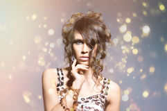 Fashion portrait of a young woman in a dress Stock Photo