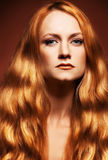 Fashion portrait young woman with red hair Royalty Free Stock Photos