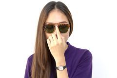 Fashion portrait of young woman wearing a sunglasses Stock Photos