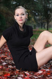 Fashion portraits. Fashion portrait of a model in a black mini skirt dress Stock Photography