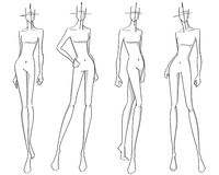 Fashion poses. Fashion stylized silhouettes holding different poses Royalty Free Stock Image