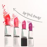 Fashion poster illustration with set of pink lipstick from ink s. Pots Royalty Free Stock Photos
