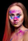 Fashion powder make up on beautiful woman Royalty Free Stock Images