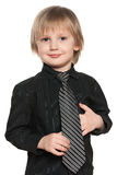 Fashion preschool boy in black shirt Royalty Free Stock Photos