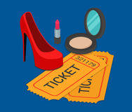 Fashion pret-a-porter show ticket booking flat isometric vector Royalty Free Stock Photo