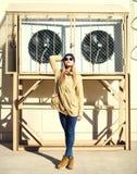 Fashion pretty model woman over urban background Royalty Free Stock Photo