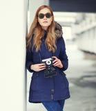 Fashion pretty woman in unusual sunglasses Royalty Free Stock Photos
