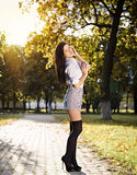Fashion pretty young woman posing outdoor Stock Photo