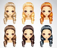 Fashion Princess Curls Hairstyle Set Royalty Free Stock Photos