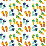 Colorful illustration with beach elements. Seamless pattern - summer slippers royalty free illustration
