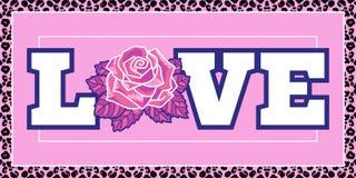 Fashion print Love with rose stock illustration