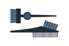 Fashion professional comb icon style hairdresser care equipment and barbershop flat hairbrush grooming curl shape vector. Illustration. Glamour plastic salon Stock Photography