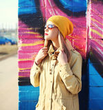 Fashion profile portrait pretty woman in sunglasses Royalty Free Stock Images