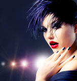 Fashion Punk Girl. Fashion Art Girl Portrait. Punk Style Royalty Free Stock Photos