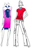 Fashion Purple Woman Red Man. Vector Illustrations Stock Images