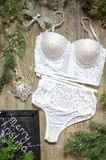 Fashion Push Up bra and panties set on the wooden festive backgr Stock Photo