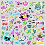 Fashion quirky cartoon doodle patch badges with cute elements. Isolated vector. Set of stickers,pins,patches in comic. Fashion quirky cartoon doodle patch badges Royalty Free Stock Image