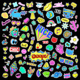 Fashion quirky cartoon doodle patch badges with cute elements. Isolated vector. Set of stickers,pins,patches in comic Stock Photo