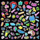 Fashion quirky cartoon doodle patch badges with cute elements. Isolated vector. Set of stickers,pins,patches in comic. Fashion quirky cartoon doodle patch badges stock illustration