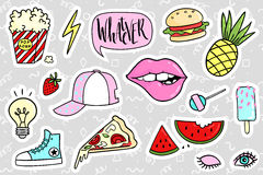 Free Fashion Quirky Cartoon Doodle Patch Badges With Cute Elements Royalty Free Stock Images - 77285789