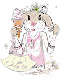 Fashion rabbit with an ice-cream. Fashion bunny with an ice-cream and a bag, decorated with flowers hand drawn graphic, kid print Stock Photos