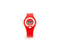 Fashion red LCD digital wristwatch. The wristwatch isolated on white background Stock Photo