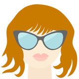 Fashion red woman face with sexy nude lips, sunglasses, long neck Flat design Stock Photo