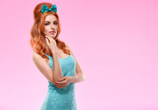 Fashion redhead model in trendy sexy dress, Pinup Royalty Free Stock Photo
