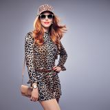 Fashion Redhead Young woman,Trendy Autumn Jumpsuit Royalty Free Stock Photos