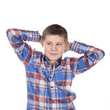 Fashion relaxed boy. On white background Stock Images