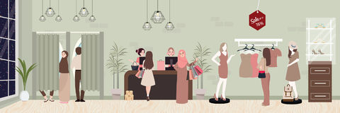 Fashion retail woman buy clothing in commercial store boutique. Inside vector commerce shopping illustration vector vector illustration