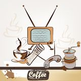 Fashion retro background with coffee Royalty Free Stock Images