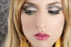 Fashion retro blond woman portrait makeup detail stock photo