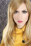 Fashion retro blond woman portrait makeup detail Royalty Free Stock Photography
