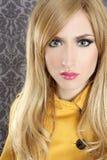 Fashion retro blond woman portrait makeup detail Royalty Free Stock Photography
