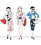 Fashion retro girls with bags Stock Photography
