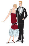 Fashion retro party  illustration. Couple on party. Flapper girl with her man (1920s style): Retro fashion party Stock Photos