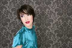 Fashion retro red lips woman on gray wallpaper. Background stock image