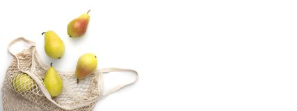 Free Fashion Reusable String Shopping Bag With Yellow Pears On White Stock Image - 165573871