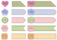 Fashion ribbon. Set of fashion ribbons. Vector fashion ribbon textured clothing labels with stitches Stock Image