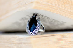 Fashion ring with black gem Royalty Free Stock Image
