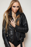 Fashion rock woman in black leather jacket & body Stock Photos