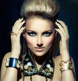 Fashion Rocker Style Girl Portrait. Fashion Rocker Style Model Girl Portrait. Hairstyle royalty free stock photo