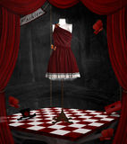 Fashion room. Surreal dummy with elegant dress Stock Images