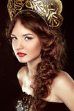 Fashion Russian girl in national head decor, makeup. Beauty Vogu Royalty Free Stock Photos