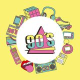 Fashion 90s patches retro elements collection. Vector illustration stock illustration