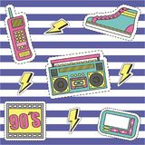 Fashion 90s patches retro elements collection stripes background. Vector illustration Stock Image
