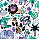 Fashion safari seamless pattern with jungle animals in vector. Seamless safari pattern. Jungle animals with tropical plants background. Vector texture in Stock Photography