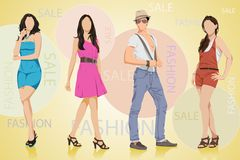 Fashion Sale. Easy to edit vector illustration of people in fashion sale poster royalty free illustration